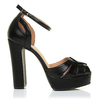 MORGAN Black PU Leather Platform Peep Toe Block Heel Ankle Strap Party Shoes