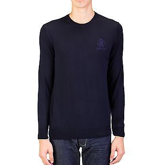 Girocollo lana maglione Dark Navy di Roberto Cavalli uomo