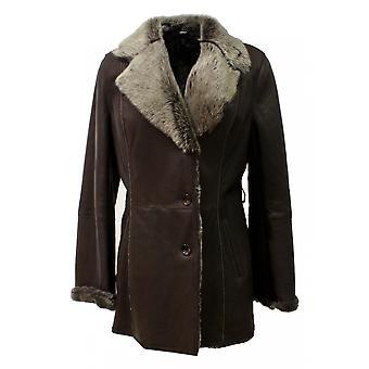 Abadía - chaqueta de abrigo de largo zalea Shearling Toscana collar cuero abrigo mujer