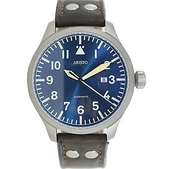 Aristo men's watch automatic Bracelet Watch Blue 47 observers 3 H 159 leather