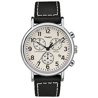 Timex Mens Weekender Chronograph Black Leather Strap TW2R42800D7PF Watch