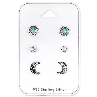 Ethnic Moon And Sun - 925 Sterling Silver Sets - W33250x