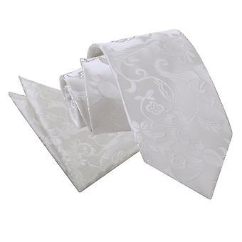 Ivory blommig slips & Pocket Square Set