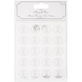 Craft Consortium Always & Forever Envelope Seal Stickers-Save Date 25Mm Acetate & Silver, 40/Pkg
