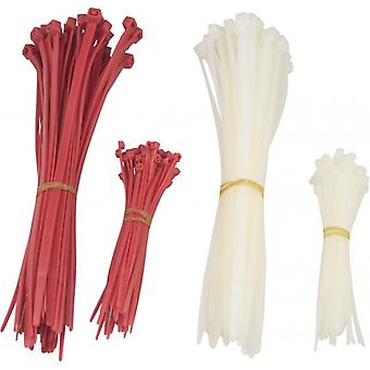 DELTACO cable ties 200 mm, 100 mm, 200 &-pack, red/white