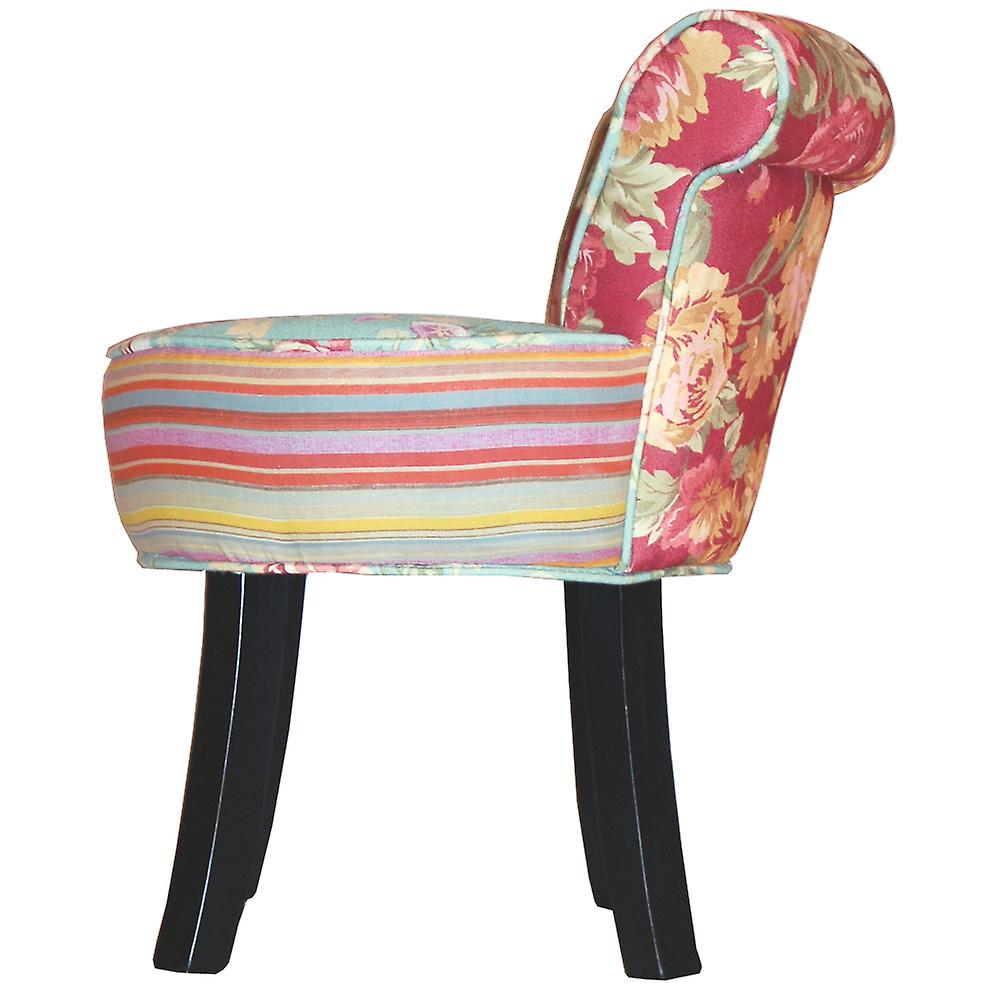 Roses - Shabby Chic Padded Stool / Fan Back Chair With Wood Legs - Multi-coloured