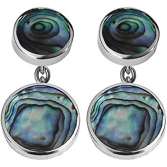 Orton West Silver Plated Oyster Shell catena collegamento gemelli - argento/verde/blu