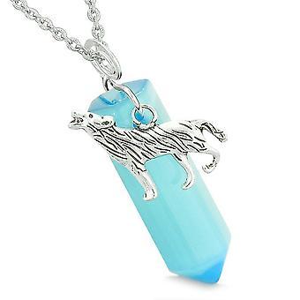 Mod Howling Wolf magiske Amulet heldig krystal punkt blå simulerede Cats Eye vedhæng halskæde
