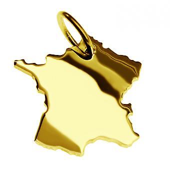 Trailer map France pendant solid 585 yellow gold