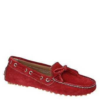 Women's driving moccasins in red suede leather