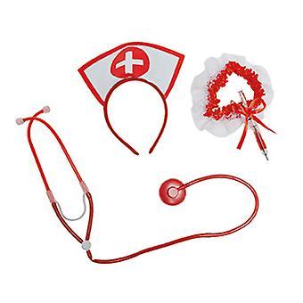 Nurse set 3pcs headband stethoscope garter with pen injection
