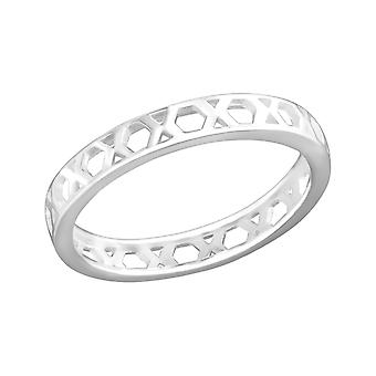 Geometric - 925 Sterling Silver Plain Rings - W36404x