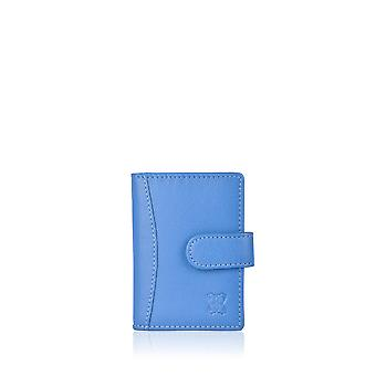 Leather Multi Credit Card Holder in Blue