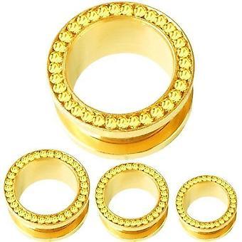 Túnel de carne Piercing de oro amarillo piedras del oído, joyería del cuerpo | 6 - 16 mm