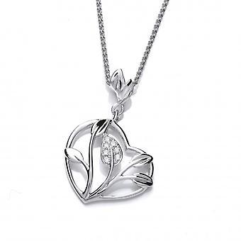 Cavendish französische Silber und CZ Herz der Blume Anhänger mit Silber Kette 16-18