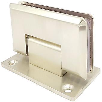 90 grados ducha bisagra pared para soporte de puerta de vidrio | Luz níquel satinado | Doble cara