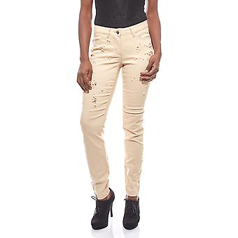vivance collection occupied ladies beige pants with decorative beads