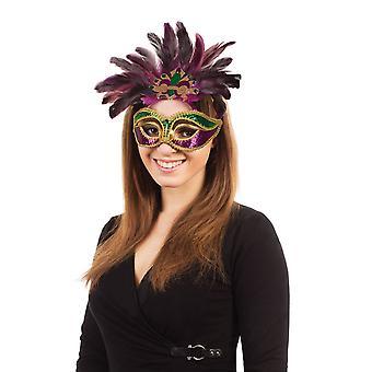 Karneval. Lilla/grøn/guld + fjer på briller ramme