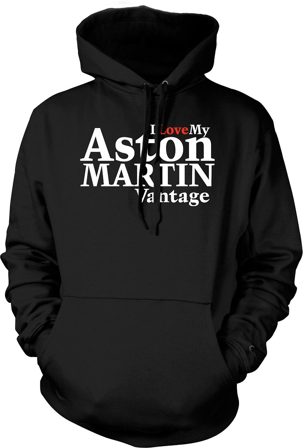 Mens Hoodie - jag älskar min Aston Martin Vantage - bil entusiast