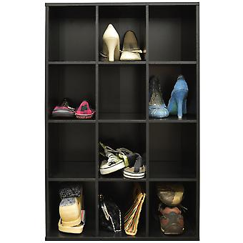 Pigeon Hole - 12 Pair Shoe Storage / Cubby Hole Display / Media Shelves - Black