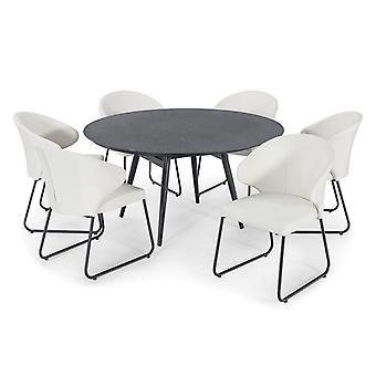 Nova - Hokuto 6 Seat Cream Outdoor Fabric Dining Set - 1.45m Round Garden Table