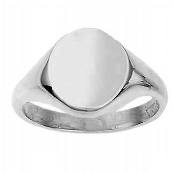 9ct White Gold 14x12mm solid plain oval Signet Ring Size N