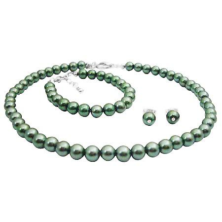 Baptism Gift Beautiful Jewelry Green Pearls Necklce Earrings Bracelet