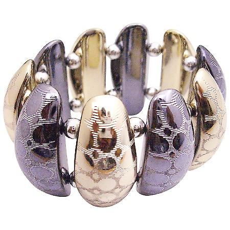 Trendy Stylish Stretchable Ladies Bracelet In Oxidize & Gold Metal