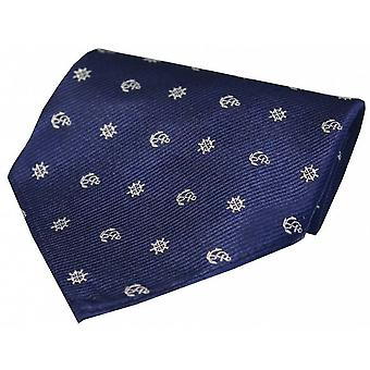 David Van Hagen Ships With Anchor and Wheel Silk Handkerchief - Navy