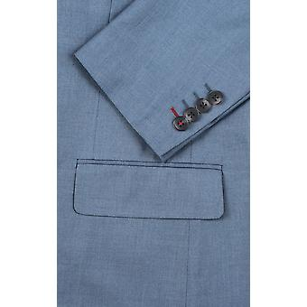 Dobell Mens Light Blue Suit Jacket Regular Fit Notch Lapel