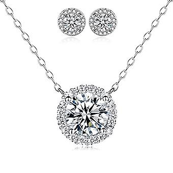 925 Sterling Silver Round Halo Necklace With Matching 7mm Stud Earrings