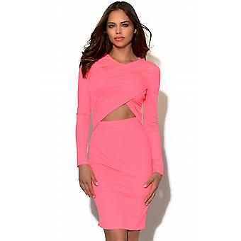 Neon Cut Out Long Sleeved Bodycon Dress