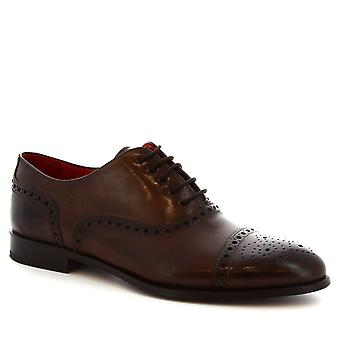 Leonardo Shoes Men's handmade Wingtip Oxford Brogues dark brown calf leather