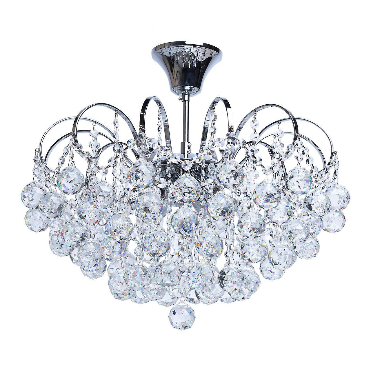 Glasberg - Chrome Finish Six lumière Semi-Flush Fitting With crystals 232017506