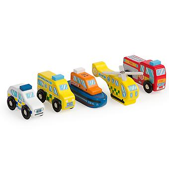 Tidlo Wooden Emergency Vehicle Set (Pack of 5) Playset Accessories