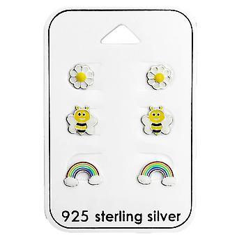 Barnens sterling silver trädgård stud Örhängen Set