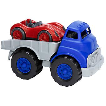 Green Toys Flatbed Truck Vehicle with Race Car BPA Free 100% Recycled