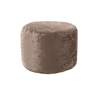 Chocolate Round Bean Bag Footstool Pouffe Seat in Shiny Crushed Velvet Fabric