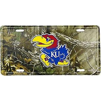 Kansas Jayhawks NCAA Camo License Plate