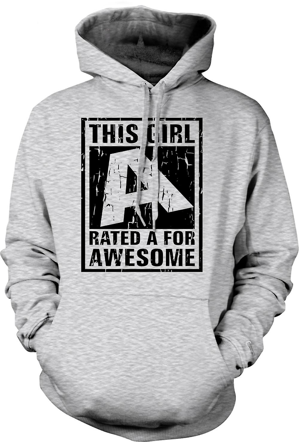 Mens Hoodie - This Girl Rated A For Awesome
