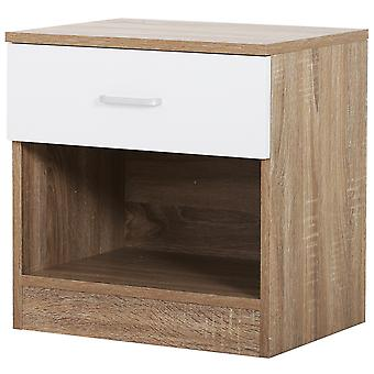 HOMCOM Classic Bedside Drawer Table Bedroom Storage Compact Night Stand Two Tone w/ Top Drawer White Oak Colour