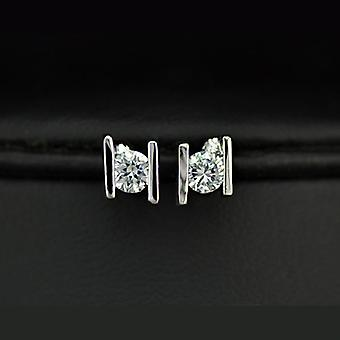 18K White Gold Plated 0.25ct Cubic Zirconia Stud Earrings