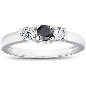 أسود 1/2 قيراط & الأبيض الماس الذهب الأبيض 3-ستون خاتم الخطوبة 10 ك