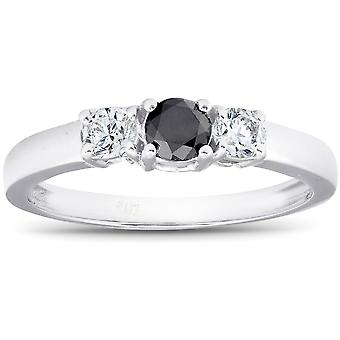 1 / 2ct svart & vit diamant 3-Stone förlovningsring 10K vitt guld