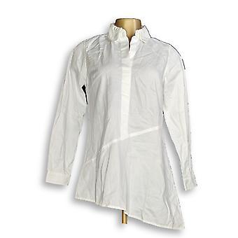 Joan Rivers Classics Collection Women's Top Denim Asymmetric White A349280