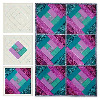 Quilt As You Go Printed Quilt Blocks On Batting-London Labyrinth JT1406