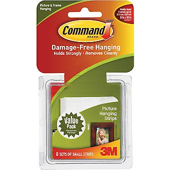 White 8 Sets Pkg Command Small Picture Hanging Strips 3M 17205 17205