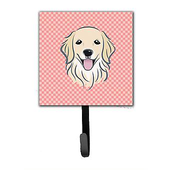 Checkerboard Pink Golden Retriever Leash or Key Holder BB1205SH4