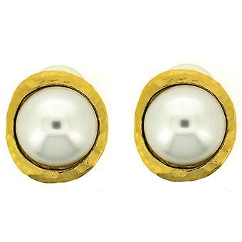 Kenneth Jay Lane hamret gull & perle knappen klipp på øredobber