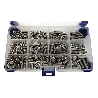 510Pc Flat Point Grub Screws M4 M5 M6 (Mixed Pack) Stainless Steel Socket Setscrews / Grub Screws